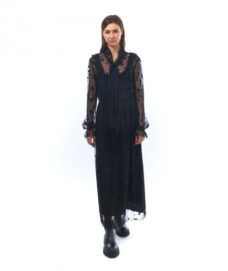 SHIRTAPORTER LONG BLACK DRESS WITH STARS DR2241