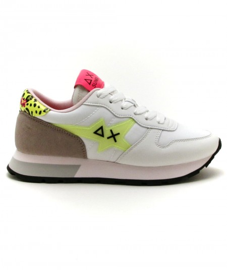 SUN68 RUNNING ADULT ALLY STAR TRANSPARENT LOGO Z31209 WHITE/YELLOW FLUO