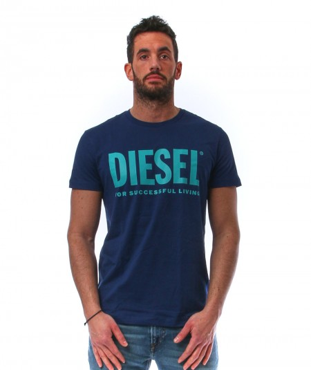 DIESEL BLUE T-SHIRT WITH LOGO PRINT T-DIEGO-LOGO