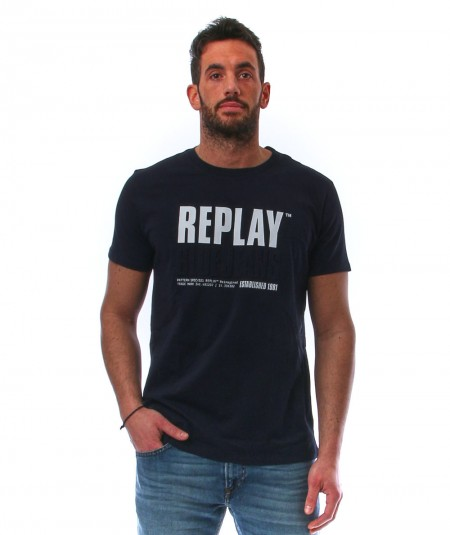 REPLAY BLACK T-SHIRT WITH LOGO PRINT M3413.000.22880