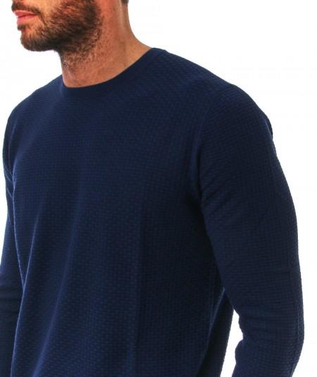 MONDRIAN ROUND NECK PULLOVER RECTANGULAR PRINT 578 NAVY BLUE
