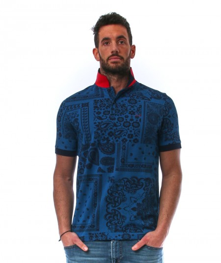 SUN68 POLO FULL PRINT EL A31127 BLUE/NAVY BLUE