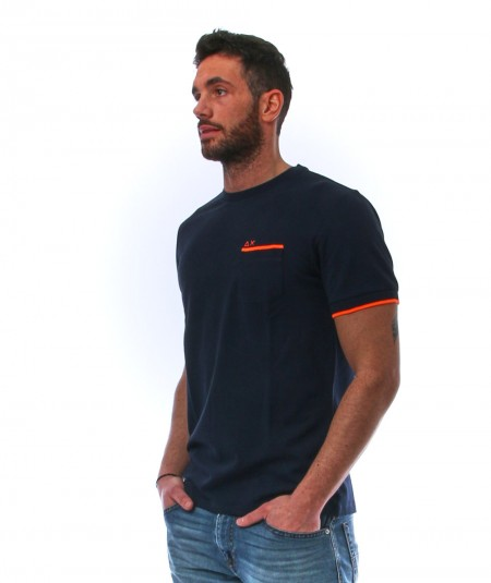 SUN68 T-SHIRT WITH POCKET T31115 NAVY BLUE