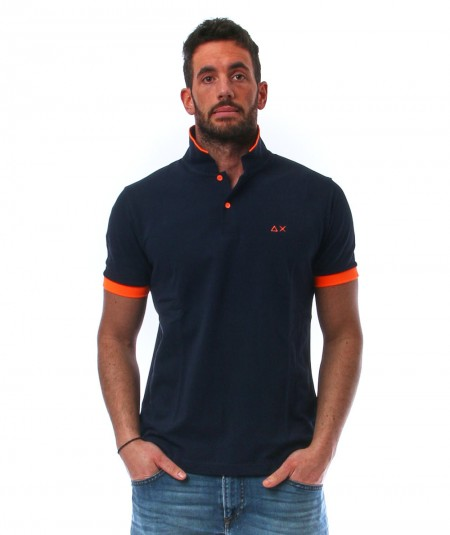 SUN68 POLO SMALL STRIPES FLUO A31118 NAVY BLUE