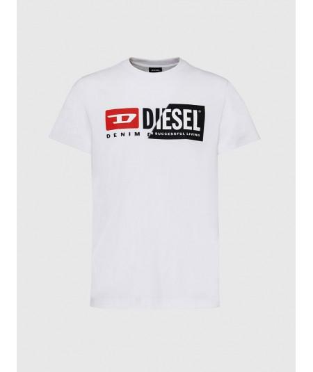 DIESEL WHITE UNISEX T-SHIRT WITH LOGO T-DIEGO-CUTY