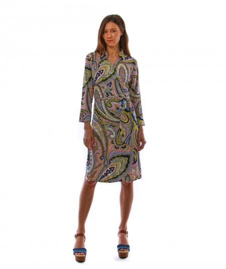 MONDRIAN VENEZIA WRAP-OVER DRESS WITH PINK AND YELLOW CASHMERE PATTERN 36062