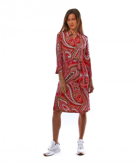 MONDRIAN VENEZIA WRAP-OVER DRESS WITH RED CASHMERE PATTERN 36062