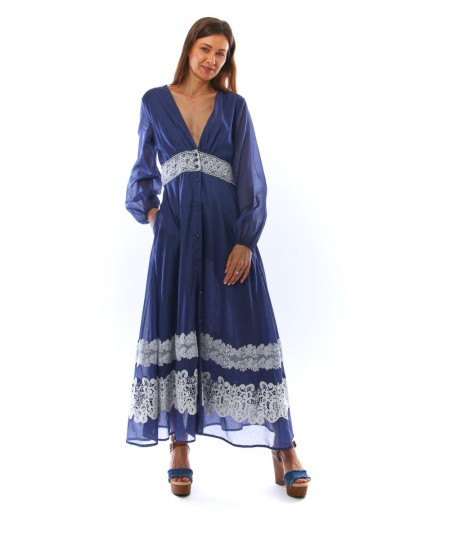 SHIRTAPORTER LONG BLUE DRESS WITH WHITE LACE DR2444