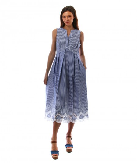 MONDRIAN VENEZIA LONG SLEEVELESS DRESS WITH STRIPED WHITE AND LIGHT BLUE PATTERN, LACE AND EMBROIDERY 36019