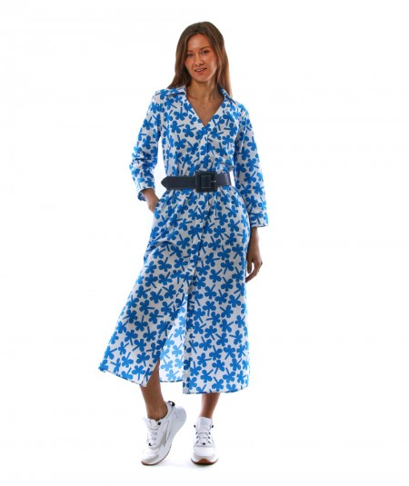 copy of MONDRIAN VENEZIA LONG DRESS WITH FLORAL FOUR-LEAF CLOVER WHITE AND BRIGHT BLUE PATTERN 36046