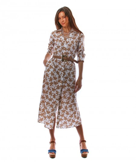 MONDRIAN VENEZIA LONG DRESS WITH FLORAL FOUR-LEAF CLOVER WHITE AND BEIGE PATTERN 36046