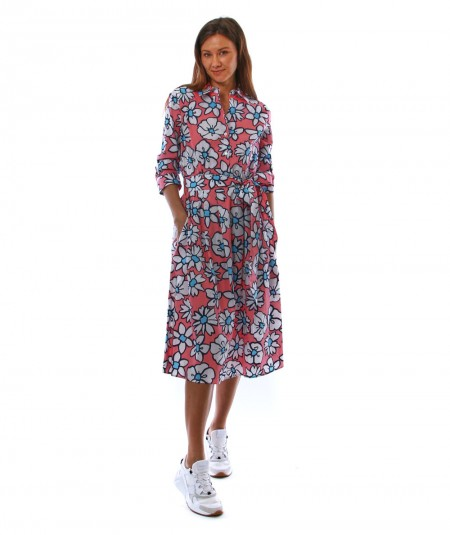 MONDRIAN VENEZIA DRESS WITH FLORAL WHITE AND PINK PATTERN 36050