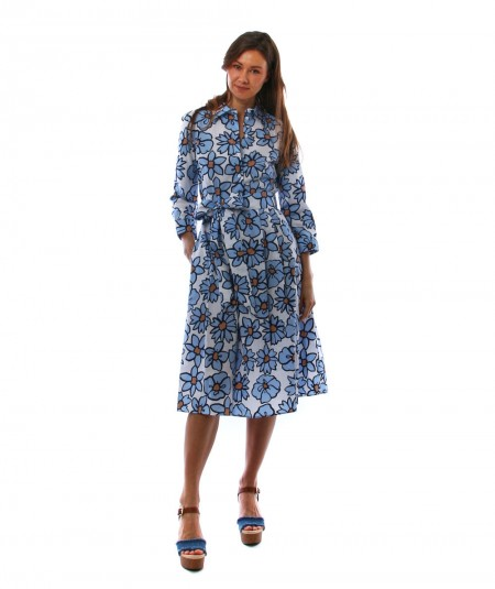 MONDRIAN DRESS WITH FLORAL WHITE AND LIGHT BLUE PATTERN 36050