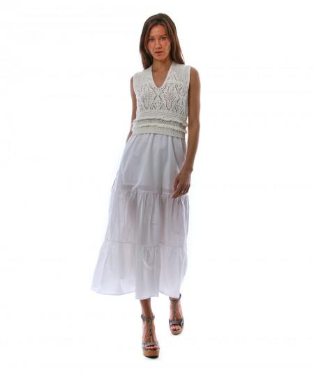 TWINSET LONG DRESS WITH CROCHET EFFECT 211TT3112 WHITE