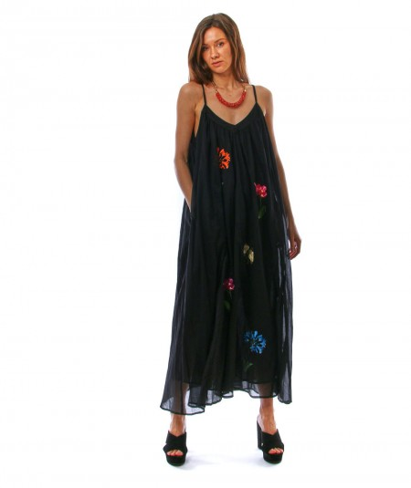 SHIRTAPORTER LONG BLACK DRESS WITH EMBROIDERY DR2477