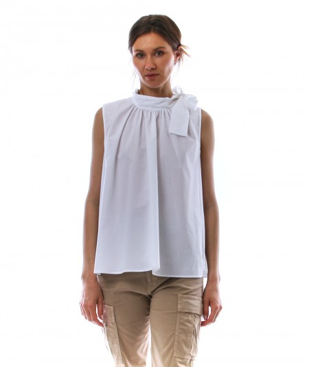 SEMICOUTURE LAURENCE WHITE TOP WITH BOW Y1SK01/A01