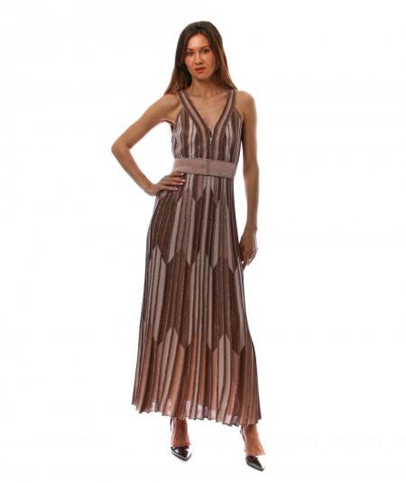 D.EXTERIOR CHEVRON LONG DRESS 50379 GOLD WITH BELT