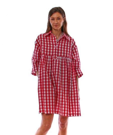 SEMICOUTURE GINGHAM DRESS Y1SF07 RED