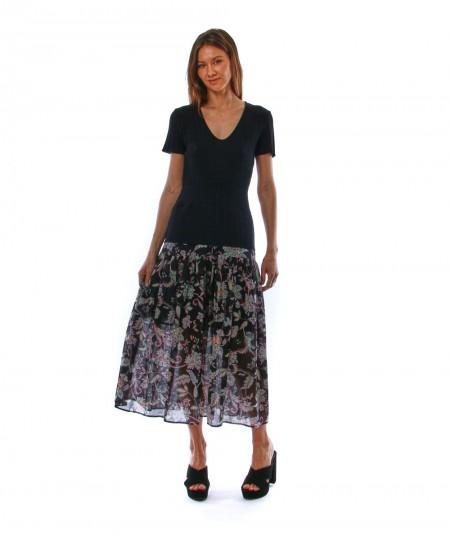 TWINSET LONG DRESS WITH INDIAN FLOWER PATTERN SKIRT 211TT3081