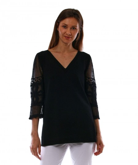 D.EXTERIOR CROCHETED SLEEVES KNITTED TOP 52341BLACK