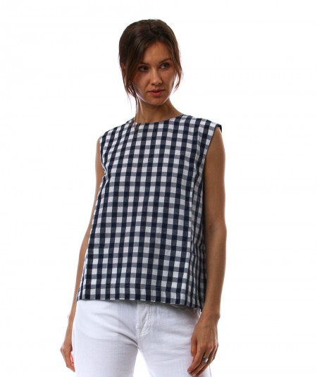 SEMICOUTURE GINGHAM TANK TOP Y1SF02 BLUE