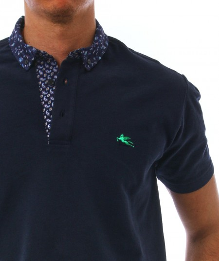 ETRO SHORT-SLEEVES POLO WITH PAISLEY DETAILS 1Y143 8091 BLUE