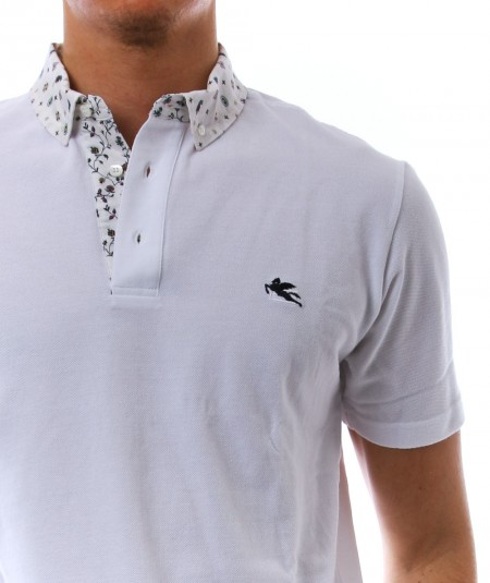 ETRO SHORT-SLEEVES POLO WITH PAISLEY DETAILS 1Y143 8091 WHITE