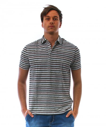 ALTEA SHORT-SLEEVES POLO STRIPED GREEN PATTERN 215073