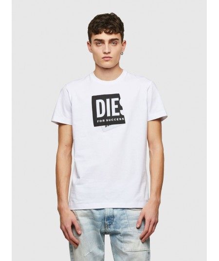 DIESEL WHITE T-SHIRT WITH FOLDED LOGO PATCH ON THE FRONT T DIEGOS LAB