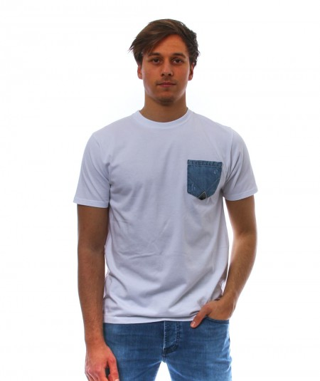 ROYROGER'S WHITE T-SHIRT WITH PATCH DENIM POCKET RRU511C7480000