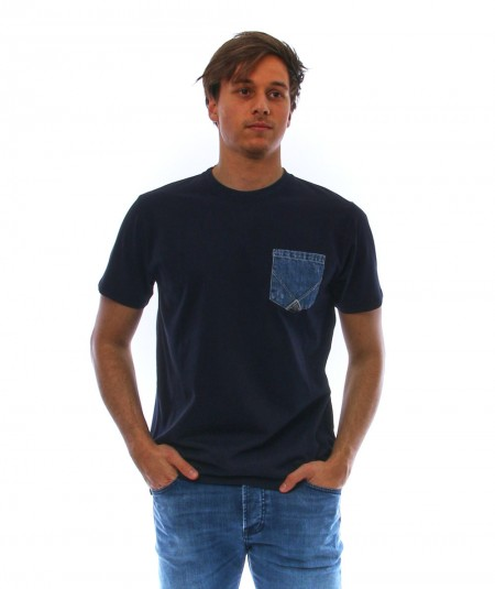 ROYROGER'S BLUE T-SHIRT WITH PATCH DENIM POCKET RRU511C7480000