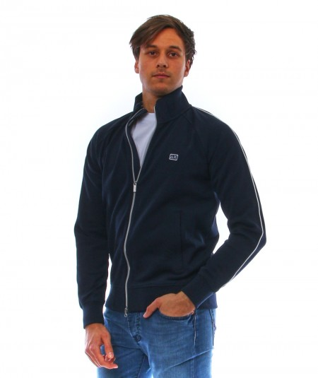 SUN68 BLUE SWEATSHIRT WITH RAGLAN SLEEVES AND ZIP ON THE FRONT F31107