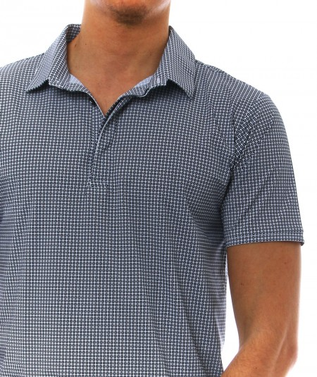 RRD POLO IN STRETCH FABRIC WITH GEOMETRIC BLUE AND WHITE PATTERN 21175