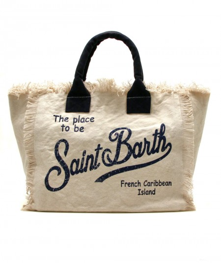 MC2 SAINT BARTH BAG IN CANVAS FABRIC BEIGE VANITY