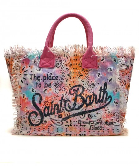 MC2 SAINT BARTH BAG IN CANVAS FABRIC IN BANDANA MULTICOLOR TIE DYE PATTERN VANITY