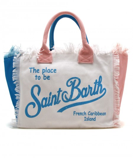 MC2 SAINT BARTH BAG IN CANVAS FABRIC PINK WHITE AND LIGHT BLUE VANITY