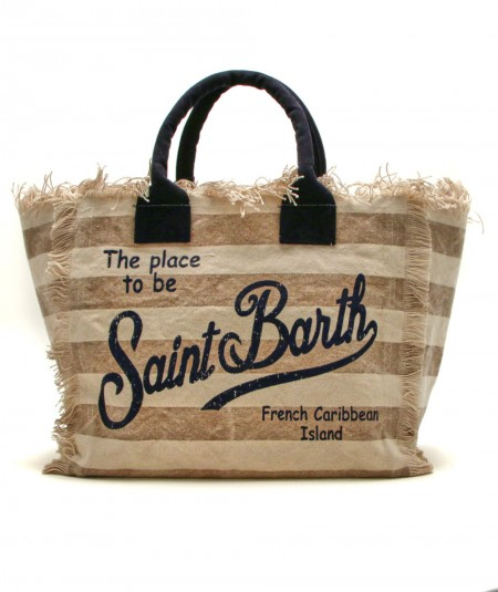 MC2 SAINT BARTH BAG IN CANVAS FABRIC IN BEIGE STRIPED PATTERN VANITY