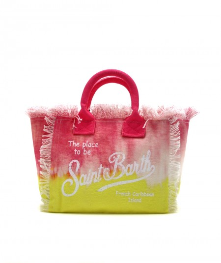 MC2 SAINT BARTH SMALL BAG IN CANVAS FABRIC IN TIE DYE PINK AND YELLOW PATTERN COLETTE