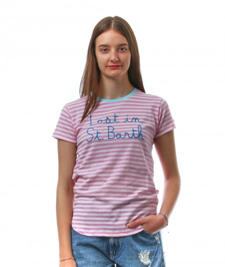 MC2 SAINT BARTH PINK AND WHITE STRIPED T-SHIRT WITH EMBROIDERY LOST IN ST. BARTH DANA