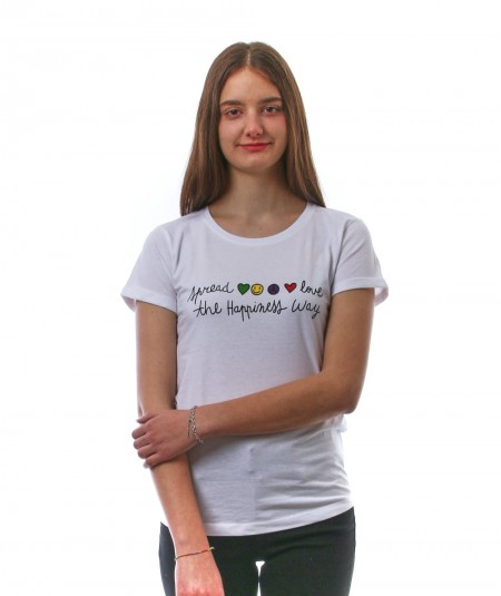 HAPPINESS WHITE T-SHIRT WITH SIGN SPREAD LOVE AND EMOJI SPLDA MC3860