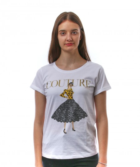 HAPPINESS WHITE T-SHIRT WITH SIGN COUTURE SPLDA LA3061