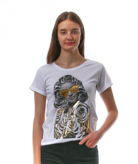 HAPPINESS WHITE T-SHIRT WITH PRINTED WOMAN SPLDA LA3050