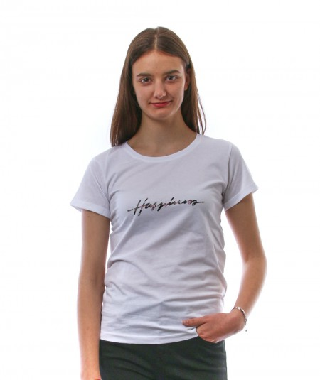 HAPPINESS WHITE T-SHIRT WITH FLORAL SIGN HAPPINESS SPLDA AP3451