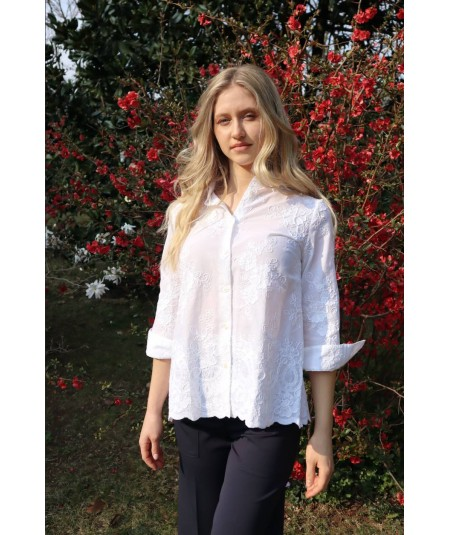 MONDRIAN VENEZIA WHITE SHIRT WITH FLORAL PATTERN IN RELIEF 36020