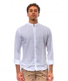 SUN68 SHIRT IN COTTON AND LINEN FABRIC WITH EMBROIDERED LOGO S31103 WHITE