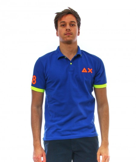 SUN68 POLO LOGO FLUO A31120 BLUE ROYAL