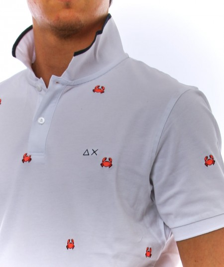 SUN68 WHITE POLO WITH EMBROIDERED CRAB DETAILS A31126