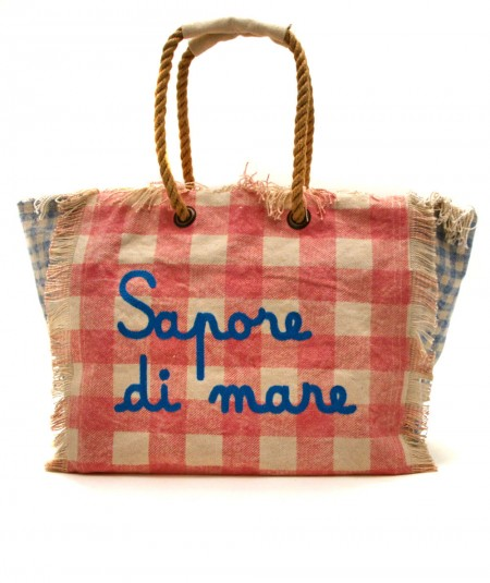 MC2 SAINT BARTH BAG IN CANVAS FABRIC CHECKED PINK AND BEIGE VANITY