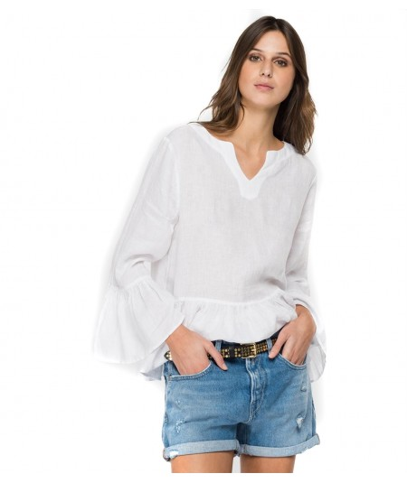 REPLAY LINEN SHIRT WITH FLOUNCES W2047 000 84076G WHITE