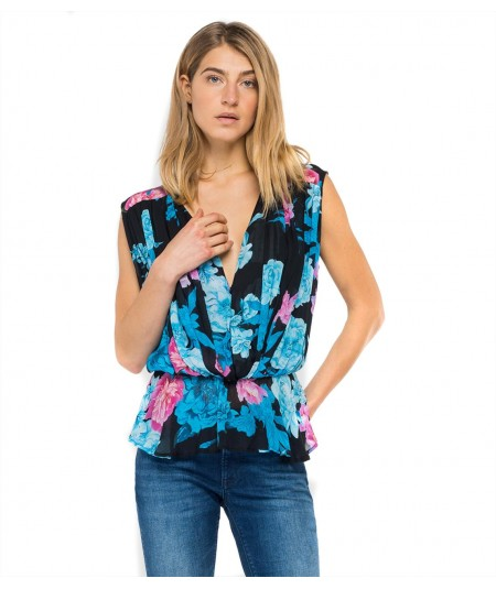 REPLAY GEORGETTE TOP WITH ALL-OVER FLORAL PRINT W2335A 000 73362